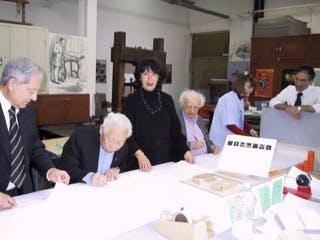Zao Wou Ki et Ives Bonnefoy avec Orlando et Lola Blanco
